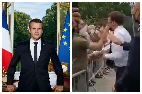 French President Macron slapped in the face by man during walkabout